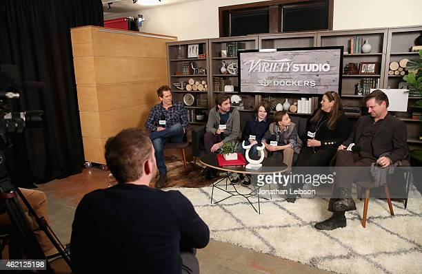Kevin Bacon Jon Watts Hays Wellford James FreedsonJackson Camryn Manheim and Shea Whigham speak during the The Variety Studio At Sundance Presented...