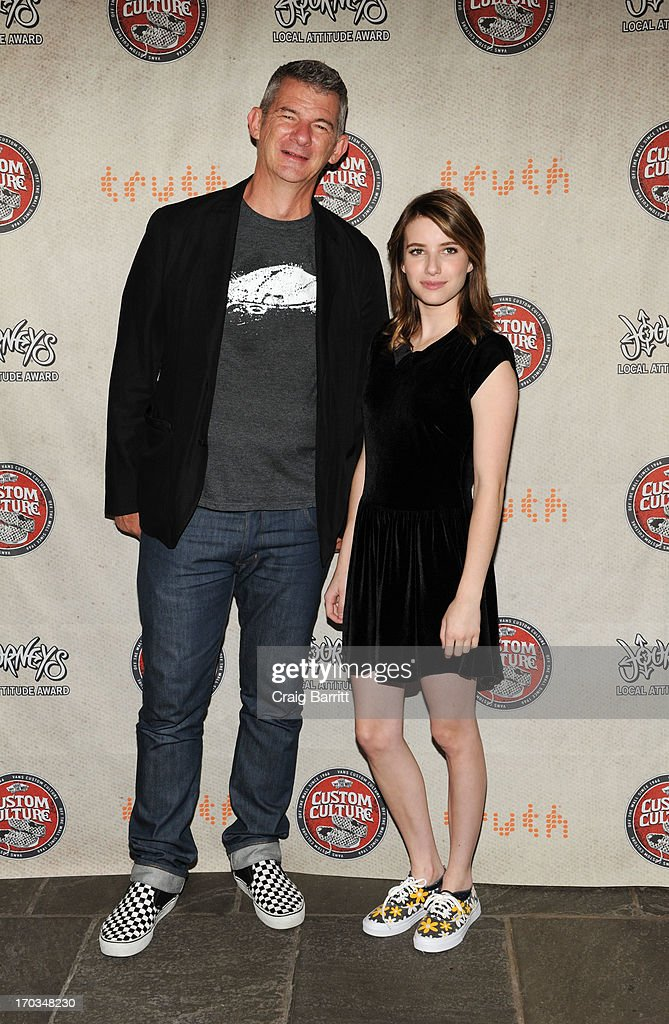 Kevin Bailey and <a gi-track='captionPersonalityLinkClicked' href=/galleries/search?phrase=Emma+Roberts&family=editorial&specificpeople=226535 ng-click='$event.stopPropagation()'>Emma Roberts</a> attend Vans Custom Culture at The Whitney Museum of American Art on June 11, 2013 in New York City.