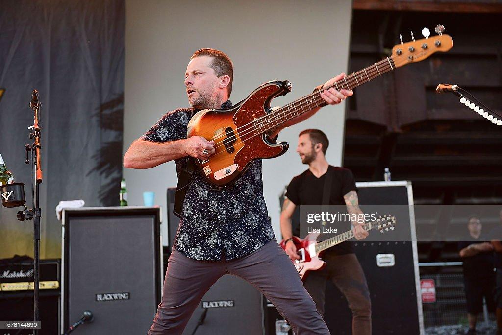 Kevin Baldes of the band LIT performs during the Summerland Tour at SteelStacks Levitt Pavillion on July 20 2016 in Bethlehem Pennsylvania