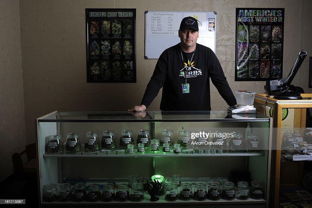 Kevin Ballinger at his medical marijuana shop, Herb's Medicinals, in Berthoud on Thursday, February 23, 2012. AAron Ontiveroz, The Denver Post