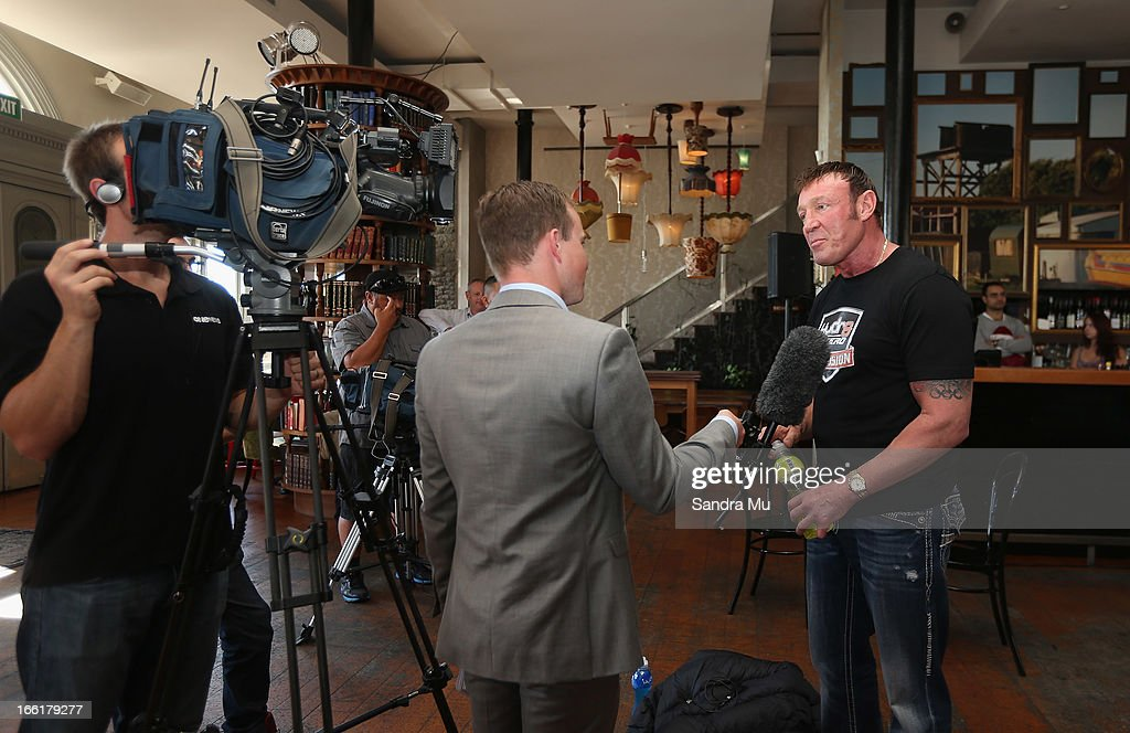 Kevin Barry, new trainer to boxer Joesph Parker is interviewed during the Hydr8 Zero Explosion Press Conference at Northern Steamship Bar on April 10, 2013 in Auckland, New Zealand.