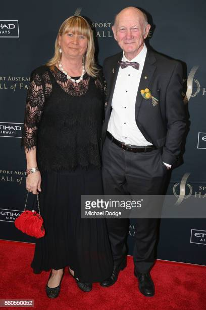 Kevin Bartlett and wife Denise at the Sport Australia Hall of Fame Annual Induction and Awards Gala Dinner at Crown Palladium on October 12 2017 in...