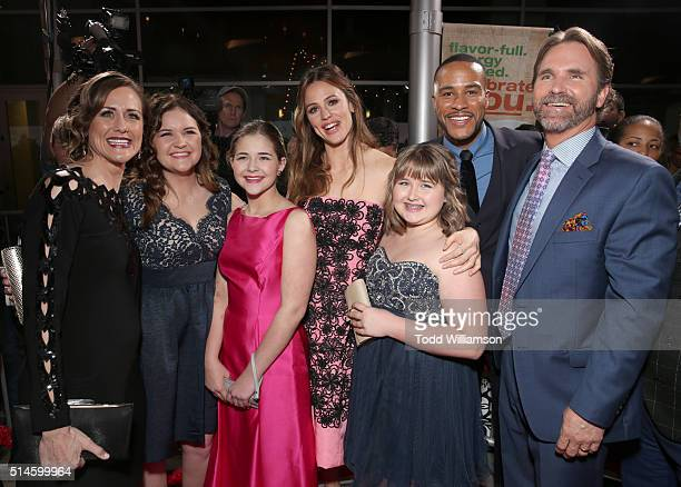 Kevin Beam Christy Beam Abigail Beam Adelynn Beam Anabel Beam actress Jennifer Garner and producer DeVon Franklin attend the Premiere Of Columbia...