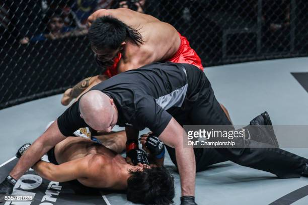 Kevin Belingon stuns Reece McLaren with a quick TKO during ONE Championship Quest For Greatness at the Stadium Negara on August 18 2017 in Kuala...
