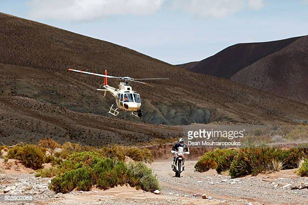 Kevin Benavides of Argentina riding on and for HONDA CRF450 RALLY HONDA SOUTH AMERICA RALLY TEAM followed by the TV helicoptr competes on day 4 and...