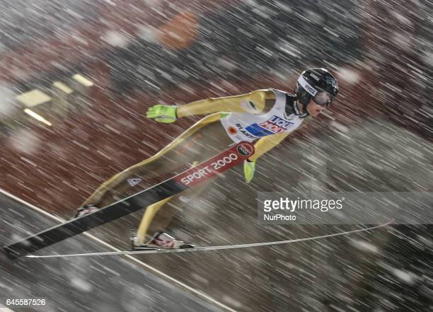 Kevin Bickner competes in the Mixed Team HS100 Normal Hill Ski Jumping during the FIS Nordic World Ski Championships on February 26 2017 in Lahti...