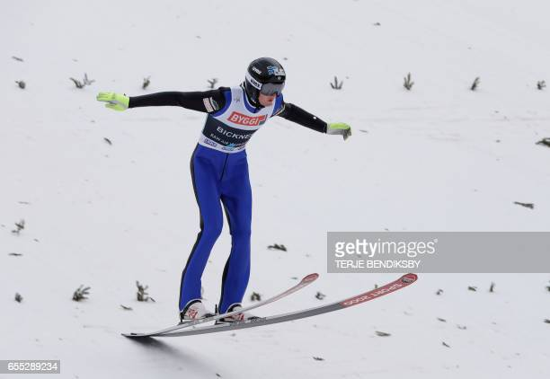 Kevin Bickner from USA lands in the first round of FIS Ski Jumping World Cup Men´s HS225 in Vikersund on March 19 2017 / AFP PHOTO / NTB Scanpix /...