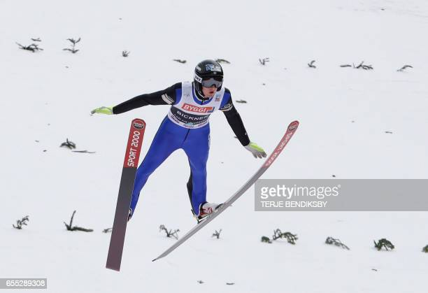 Kevin Bickner from USA soars during the first round of FIS Ski Jumping World Cup Men´s HS225 in Vikersund on March 19 2017 / AFP PHOTO / NTB Scanpix...