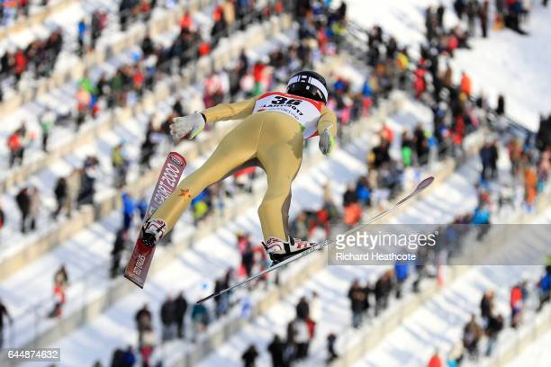 Kevin Bickner of the United States competes in the Men's Ski Jumping HS100 qualification round during the FIS Nordic World Ski Championships on...