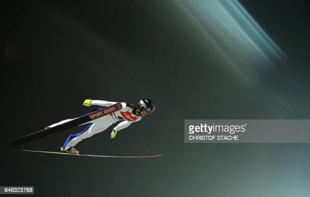 US Kevin Bickner soars during the men large hill individual training of the 2017 FIS Nordic World Ski Championships in Lahti Finland on February 28...