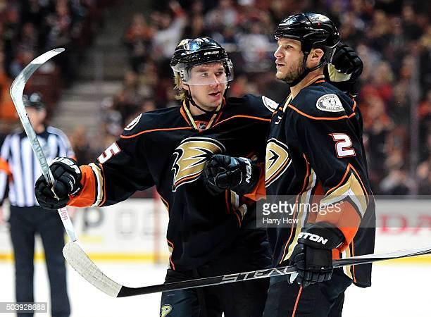 Kevin Bieksa of the Anaheim Ducks celebrates his goal with Sami Vatanen to take a 20 lead over the Winnipeg Jets during the first period at Honda...
