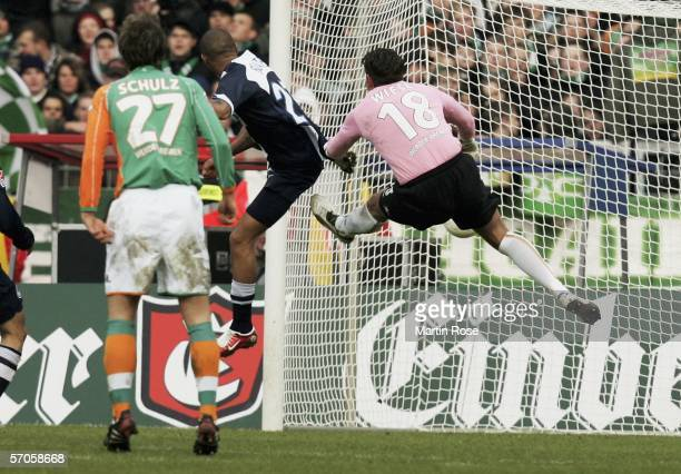 Kevin Boateng scores the first goal during the Bundesliga match between Werder Bremen and Hertha BSC Berlin at the Weser Stadium on March 11 2006 in...