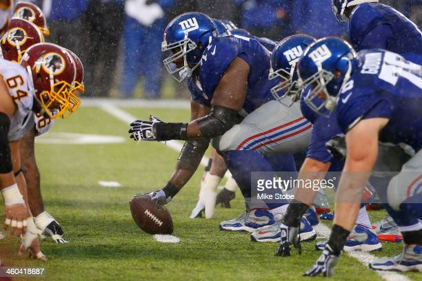 Kevin Boothe of the New York Giants in action against the Washington Redskins at MetLife Stadium on December 29 2013 in East Rutherford New Jersey...