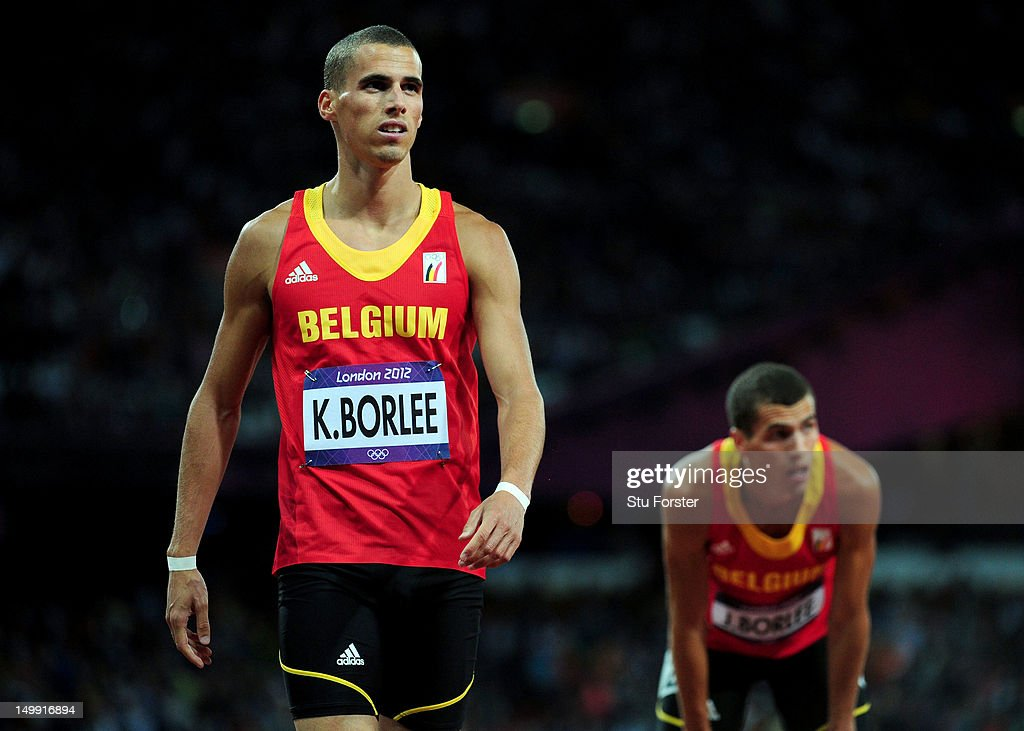 Kevin Borlee of Belgium and Jonathan Borlee of Belgium look on after competing in the Men's 400m final on Day 10 of the London 2012 Olympic Games at the Olympic Stadium on August 6, 2012 in London, England.
