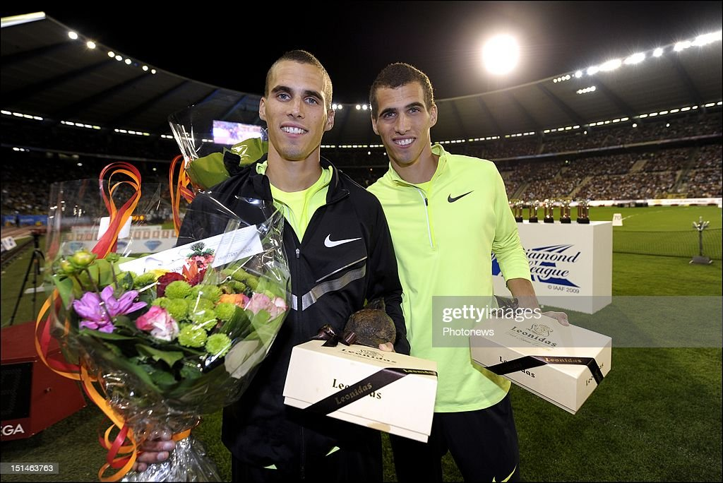 Kevin Borlee of Belgium (R) celebrates during the podium ceremony with his twin brother Jonathan Borlee of Belgium after winning the men's 400m race on the 14th and last leg of the Samsung Diamond athletics league during the Memorial Van Damme 2012 edition meeting at King Baudouin Stadium on September 7, 2012 in Brussels, Belgium.