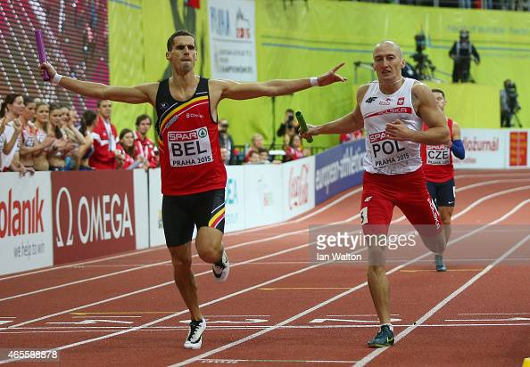 Kevin Borlee of Belgium crosses the line to win gold ahead of Pavel Maslek of Poland in the Men's 4x400 metres Final during day three of the 2015...