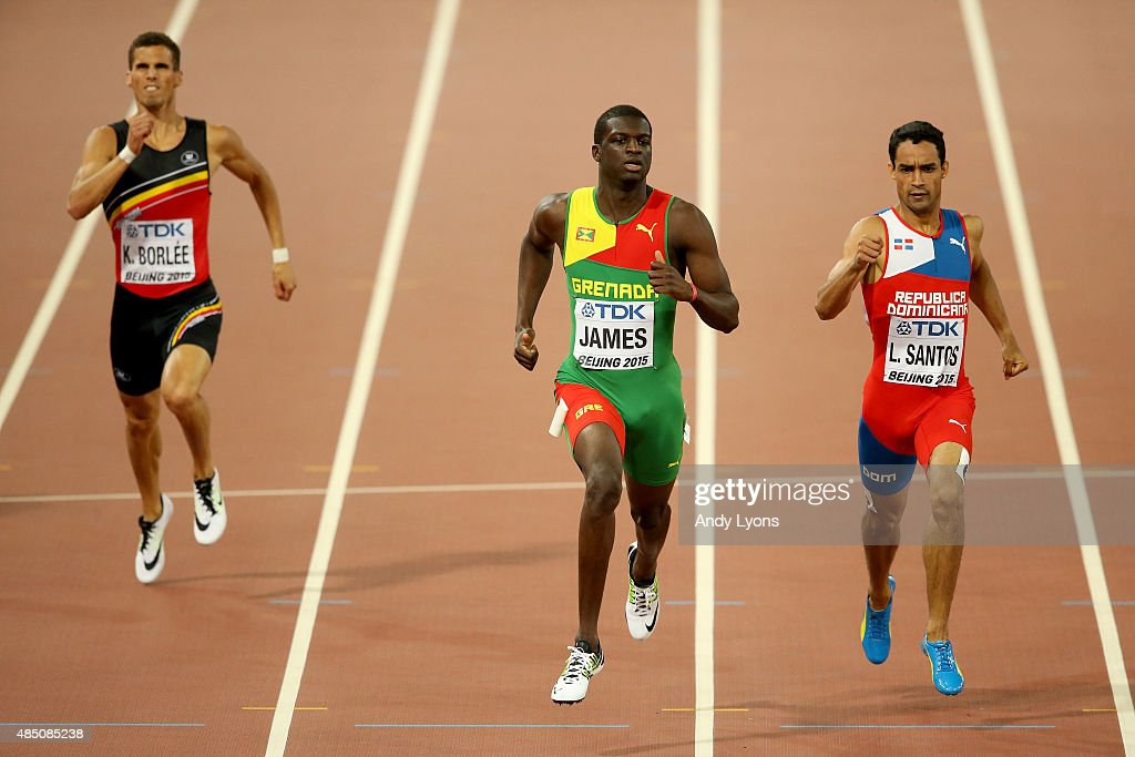 Kevin Borlee of Belgium, Kirani James of Grenada and Luguelin Santos of the Dominican Republic cross the finish line in the Men's 400 metres semi-final during day three of the 15th IAAF World Athletics Championships Beijing 2015 at Beijing National Stadium on August 24, 2015 in Beijing, China.