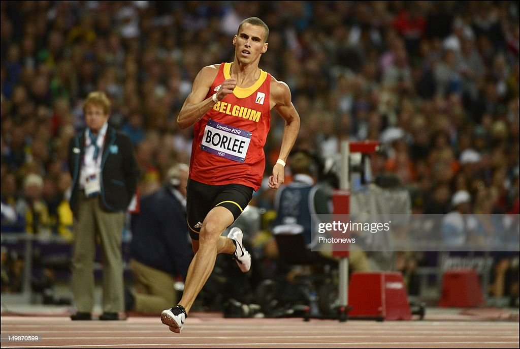 <a gi-track='captionPersonalityLinkClicked' href=/galleries/search?phrase=Kevin+Borlee&family=editorial&specificpeople=2132831 ng-click='$event.stopPropagation()'>Kevin Borlee</a> pictured during the Men's 400m Semifinal on day 09 of the London 2012 Olympic Games at the Olympic Stadium on August 05, 2012 in London, England.