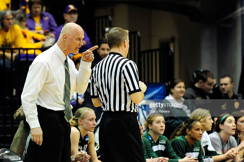 Kevin Borseth, head coach of the Green Bay Phoenix, argues an officials call during the first round of the NCAA Tournament against the LSU Tigers at the Pete Maravich Assembly Center on March 24, 2013 in Baton Rouge, Louisiana. LSU won the game 75-71.