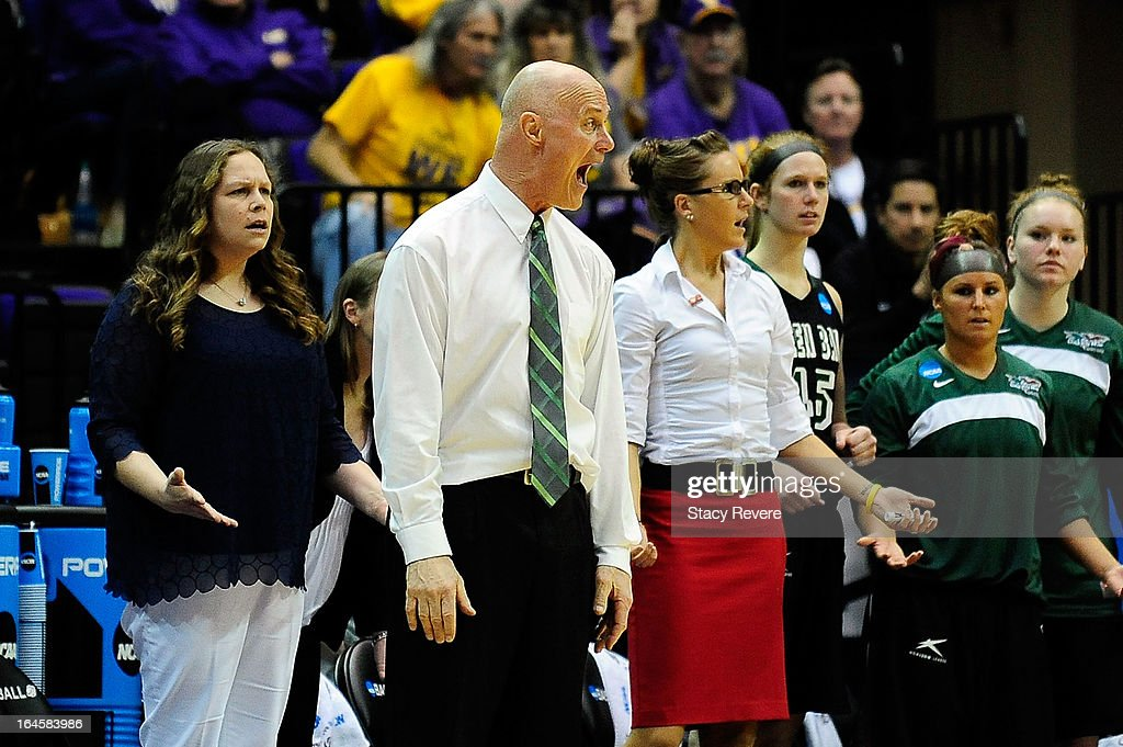 Kevin Borseth, head coach of the Green Bay Phoenix reacts to an officials call during the first round of the NCAA Tournament against the LSU Tigers at the Pete Maravich Assembly Center on March 24, 2013 in Baton Rouge, Louisiana.