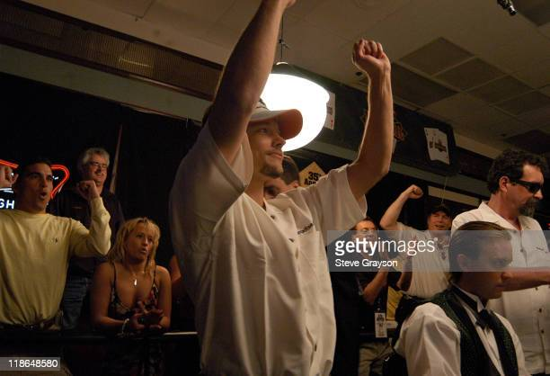 Kevin Bott celebrates after moving on to the next round during day six of the 2004 World Series of Poker at Binion's Horseshoe Club and Casino in Las...