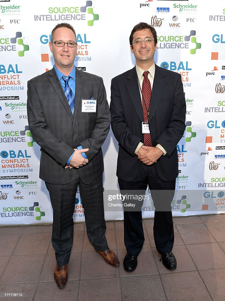 Kevin Bottomley, Commerce Resources Corp. (L) and Brad Brooks-Rubin, Holland & Hart attend the Global Conflict Minerals Symposium Dinner Presented by Source Intelligence at Omni Los Angeles Hotel on August 21, 2013 in Los Angeles, California.