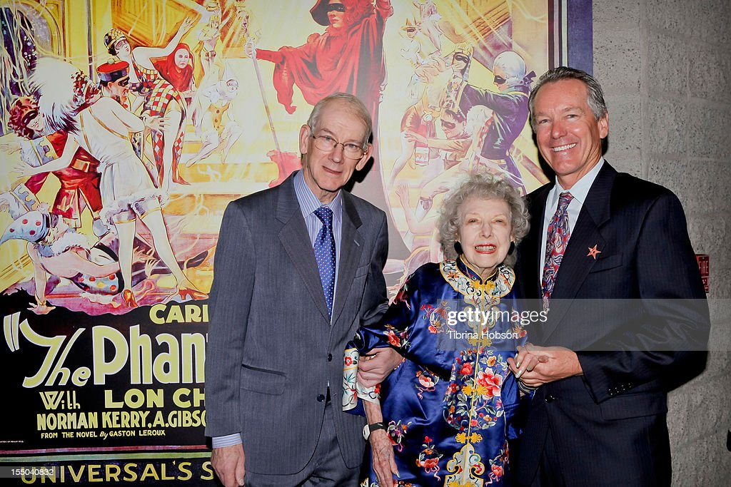 Kevin Brownlow, <a gi-track='captionPersonalityLinkClicked' href=/galleries/search?phrase=Carla+Laemmle&family=editorial&specificpeople=5017601 ng-click='$event.stopPropagation()'>Carla Laemmle</a> and Ron Chaney attend The Academy of Motion Picture Arts and Sciences' screening of 'The Phantom Of The Opera' at AMPAS Samuel Goldwyn Theater on October 30, 2012 in Beverly Hills, California.