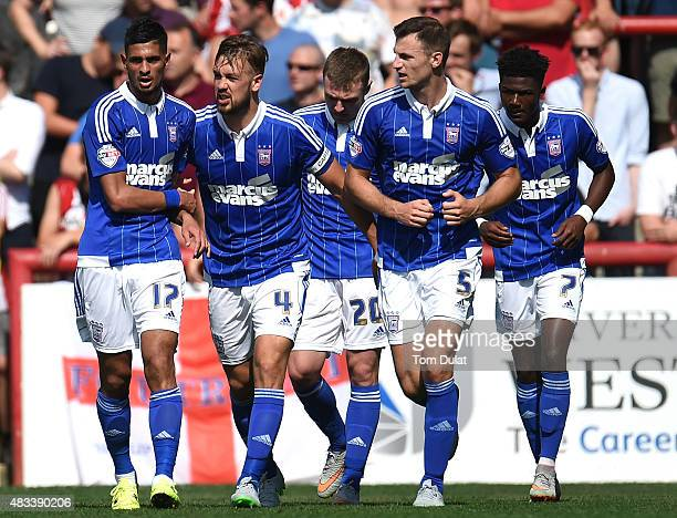 Kevin Bru celebrates with Luke Chambers scoring the opening goal for Ipswich Town during the Sky Bet Championship match between Brentford and Ipswich...