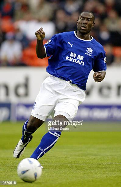 Kevin Campbell of Everton in action during the PreSeason Friendly match between Dundee United and Everton held on July 30 2003 at Tannadice Park in...