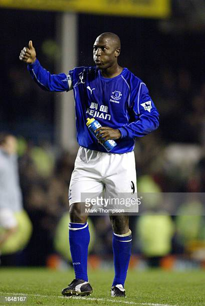 Kevin Campbell of Everton signals to the fans during the FA Barclaycard Premiership match between Everton and Charlton Athletic on November 9 2002...