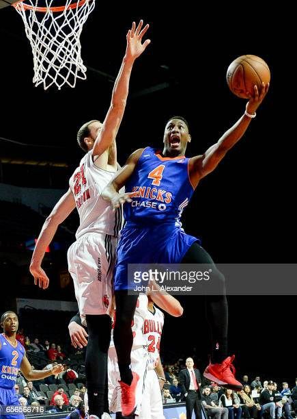 Kevin Capers of the Westchester Knicks drive to the basket against the Windy City Bulls on March 21 2017 at the Sears Centre Arena in Hoffman Estates...