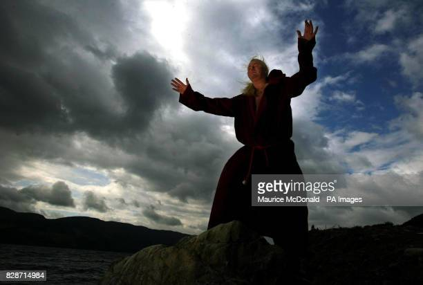 Kevin Carlyon High Priest of the British Coven of White Witches casting spells in a bid to lure the Loch Ness monster out into the open He was trying...