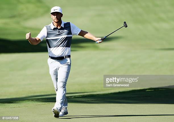 Kevin Chappell celebrates a birdie putt on the 13th hole during the final round of the TOUR Championship at East Lake Golf Club on September 25 2016...