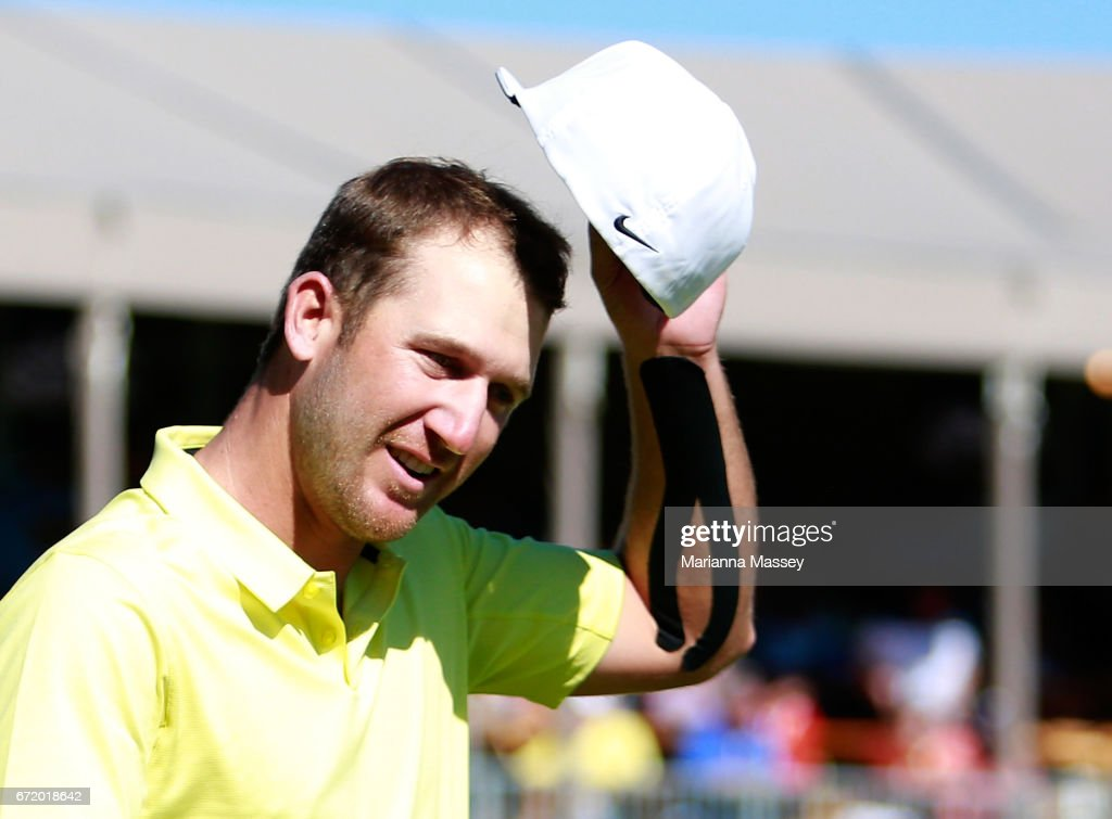 Kevin Chappell celebrates after putting in to win on the 18th green during the final round of the Valero Texas Open at TPC San Antonio AT&T Oaks Course on April 23, 2017 in San Antonio, Texas.