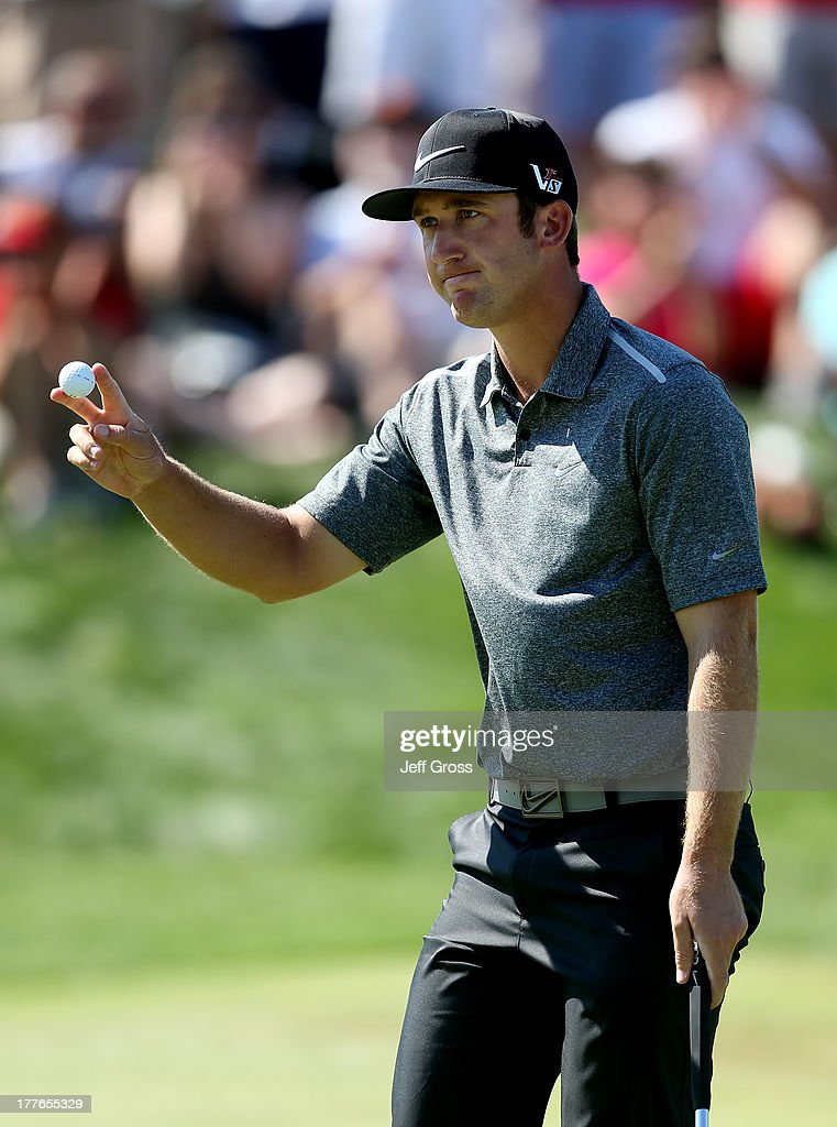 Kevin Chappell of the United States acknowledges the crowd during the final round of The Barclays at Liberty National Golf Club on August 25, 2013 in Jersey City, New Jersey.