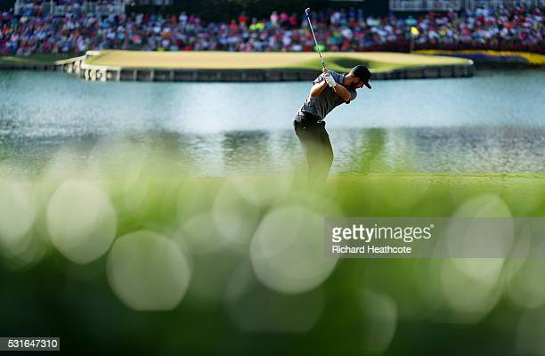 Kevin Chappell of the United States plays his shot from the 17th tee during the final round of THE PLAYERS Championship at the Stadium course at TPC...