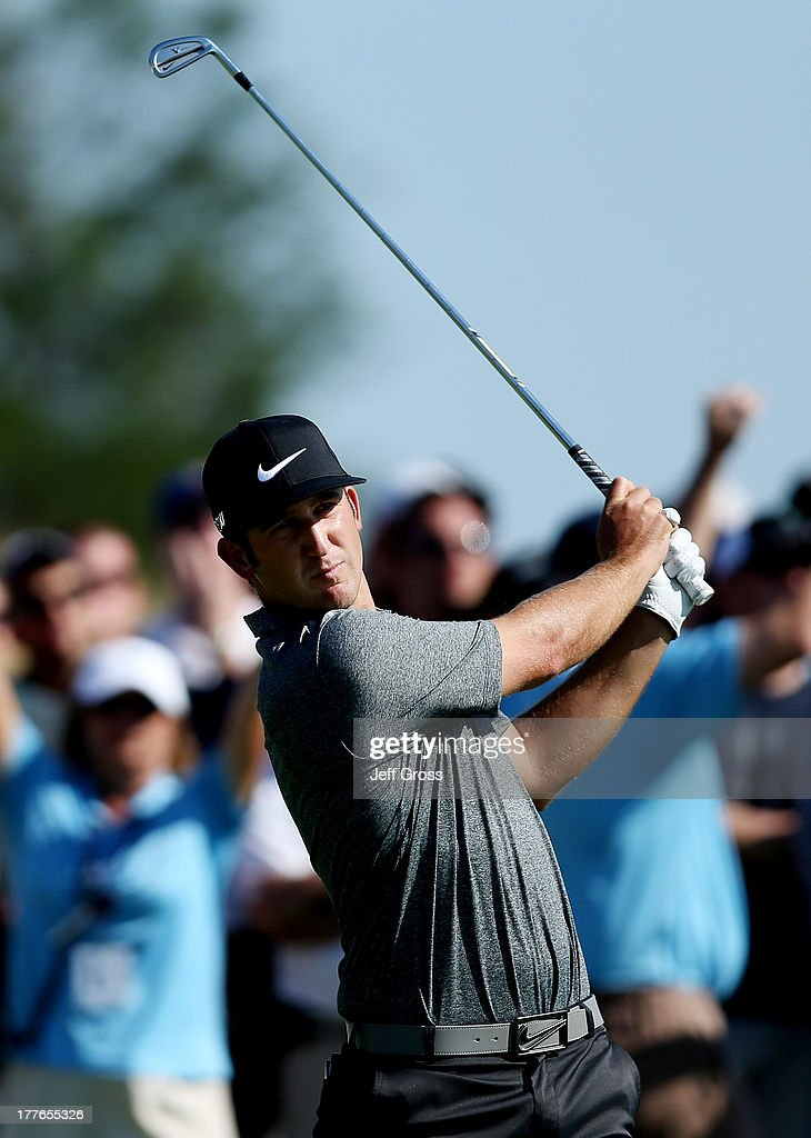 Kevin Chappell of the United States watches his tee shot on the 11th hole during the final round of The Barclays at Liberty National Golf Club on August 25, 2013 in Jersey City, New Jersey.