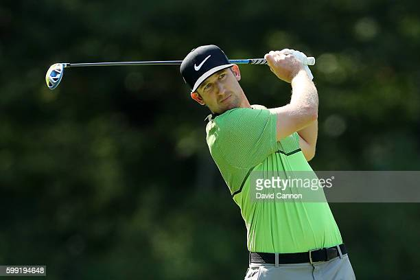 Kevin Chappell plays his shot from the fifth tee during the third round of the Deutsche Bank Championship at TPC Boston on September 4 2016 in Norton...