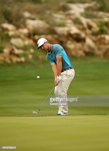 Kevin Chappell putts on the 13th during Round One of the Valero Texas Open at the ATT Oaks Course on March 27 2014 in San Antonio Texas