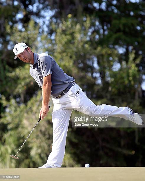 Kevin Chappell reacts to a missed birdie putt on the 15th hole during the third round of the Children's Miracle Network Classic at Disney's Magnolia...