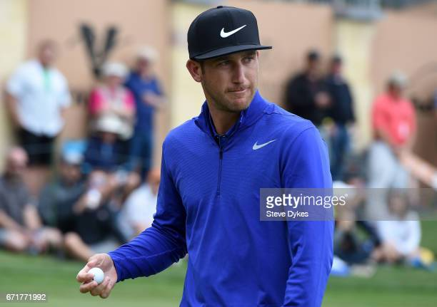 Kevin Chappell reacts to his birdie putt on the 16th hole during the third round of the Valero Texas Open at TPC San Antonio ATT Oaks Course on April...