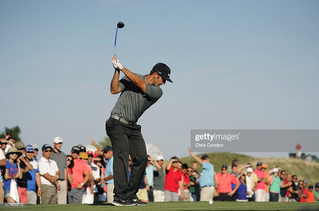 <a gi-track='captionPersonalityLinkClicked' href=/galleries/search?phrase=Kevin+Chappell&family=editorial&specificpeople=5744934 ng-click='$event.stopPropagation()'>Kevin Chappell</a> tees off on the 17th hole during the final round of The Barclays at Liberty National Golf Club on August 25, 2013 in Jersey City, New Jersey.