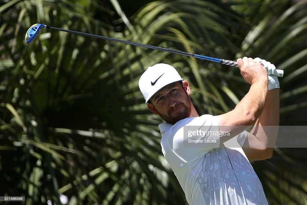 Kevin Chappell tees off on the second hole during the third round of the 2016 RBC Heritage at Harbour Town Golf Links on April 16 2016 in Hilton Head...
