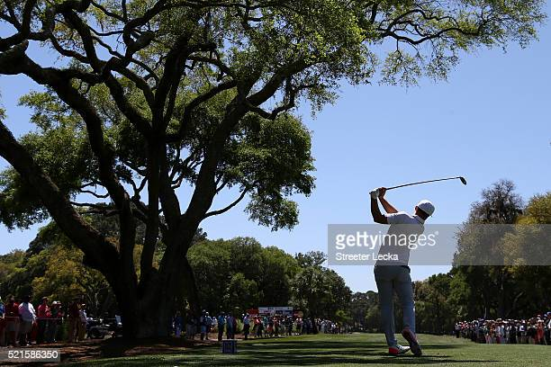 Kevin Chappell tees off on the third hole during the third round of the 2016 RBC Heritage at Harbour Town Golf Links on April 16 2016 in Hilton Head...