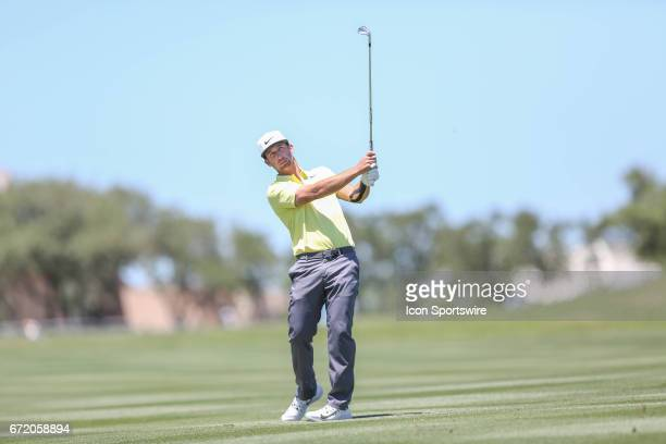 Kevin Chappell watches his shot during the 4th round of the Valero Texas Open at the TPC San Antonio Oaks Course in San Antonio TX on April 23 2017