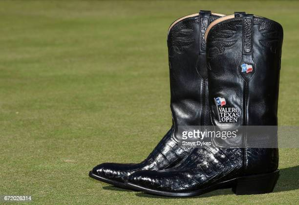 Kevin Chappell's winning pair of cowboy boots during the final round of the Valero Texas Open at TPC San Antonio ATT Oaks Course on April 23 2017 in...