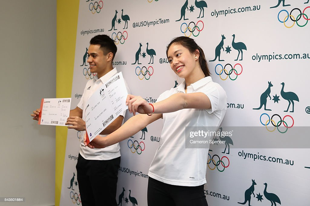 Kevin Chavez and <a gi-track='captionPersonalityLinkClicked' href=/galleries/search?phrase=Esther+Qin&family=editorial&specificpeople=13438597 ng-click='$event.stopPropagation()'>Esther Qin</a> pose during the Australian Olympic Games diving team announcement at the Museum of Contemporary Art on June 29, 2016 in Sydney, Australia.