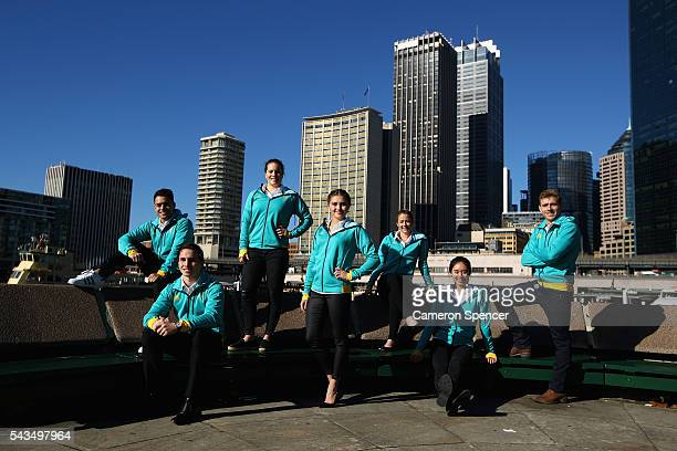 Kevin Chavez Domonic Bedggood Annabelle Smith Melissa Wu Brittany Broben Esther Qin and Grant Nel of the Australian Olympic Diving team pose...