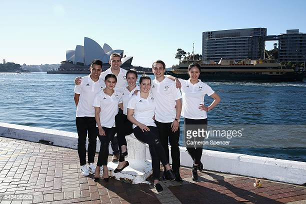 Kevin Chavez Melissa Wu Grant Nel Brittany Broben Annabelle Smith Domonic Bedggood and Esther Qin of the Australian Olympic Diving team pose...