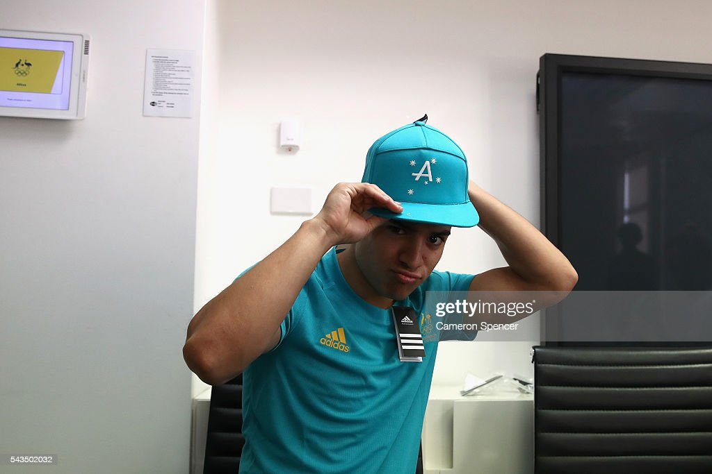 Kevin Chavez models his new Olympic kit during the Australian Olympic Games diving team announcement at the Museum of Contemporary Art on June 29, 2016 in Sydney, Australia.